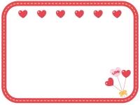 赤いハートとフォトプロップスのフレーム飾り枠イラスト