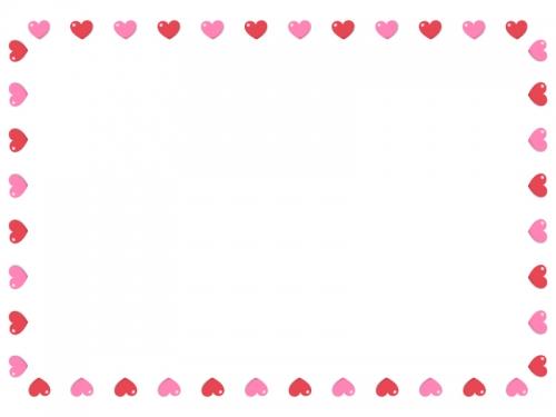 赤とピンクのハートのバレンタイン囲みフレーム飾り枠イラスト