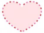 赤とピンクのハート型バレンタイン囲みフレーム飾り枠イラスト