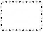 白黒ハートのバレンタイン囲みフレーム飾り枠イラスト