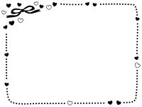 ハートとリボンの白黒点線バレンタイン囲みフレーム飾り枠イラスト