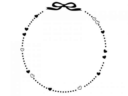 ハートとリボンの白黒点線バレンタイン楕円フレーム飾り枠イラスト