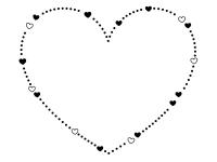 ハートの白黒点線バレンタインフレーム飾り枠イラスト