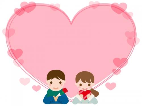 チョコを渡すカップルのハート型バレンタインフレーム飾り枠イラスト