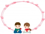 チョコを渡すカップルの楕円バレンタインフレーム飾り枠イラスト