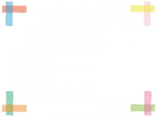 カラフルな四隅フレーム飾り枠イラスト