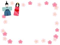 お雛様とお内裏様と花のひな祭りフレーム飾り枠イラスト