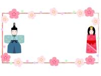 お雛様とお内裏様の横長筆線ひな祭りフレーム飾り枠イラスト