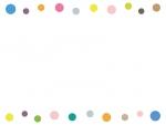 カラフルな丸の上下フレーム飾り枠イラスト