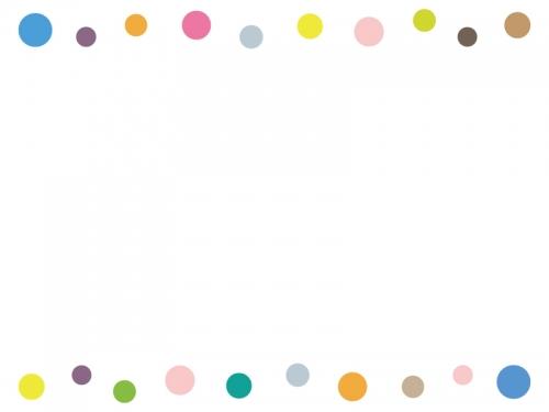 カラフルな丸の上下フレーム飾り枠イラスト 無料イラスト かわいい