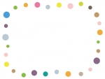 カラフルな丸のフレーム飾り枠イラスト