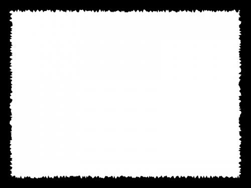 白黒のラフなギザギザ模様のフレーム飾り枠イラスト02