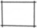 グレー(モノトーン)のマーカー風のフレーム飾り枠イラスト