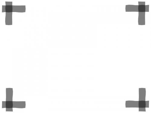 グレー(モノトーン)の四隅フレーム飾り枠イラスト
