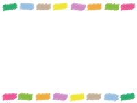落書き風のカラフルな上下フレーム飾り枠イラスト