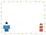 お雛さまのカラフルな水玉囲みひな祭りフレーム飾り枠イラスト
