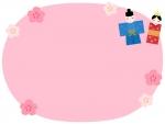 お雛さまと花のピンク色ひな祭りフレーム飾り枠イラスト