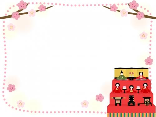 雛飾りと桃の花の点線ひな祭りフレーム飾り枠イラスト 無料