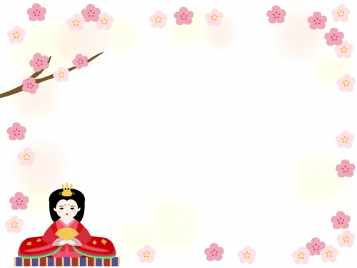 お雛さまと桃の花のふんわりひな祭りフレーム飾り枠イラスト