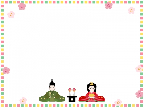 カラフル四角のお雛さま囲みひな祭りフレーム飾り枠イラスト