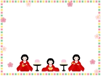 カラフルな四角の三人官女の囲みひな祭りフレーム飾り枠イラスト