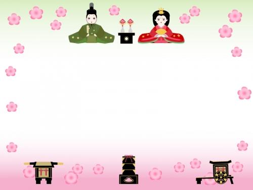 お雛さまとお雛道具のひな祭りフレーム飾り枠イラスト 無料