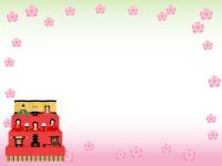 ひな飾りのグラデーション背景ひな祭りフレーム飾り枠イラスト