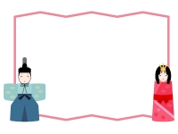お雛さまとお内裏さまとピンク色屏風のひな祭りフレーム飾り枠イラスト