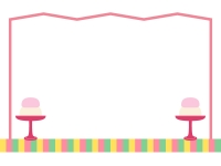 シンプルな屏風と高坏のひな祭りフレーム飾り枠イラスト