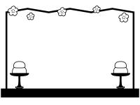 シンプルな屏風と高坏の白黒ひな祭りフレーム飾り枠イラスト