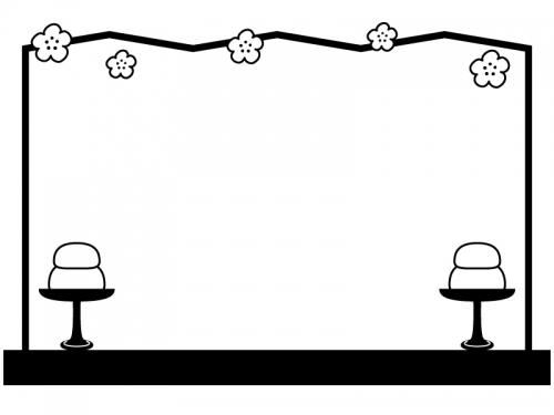 シンプルな屏風と高坏の白黒ひな祭りフレーム飾り枠イラスト 無料