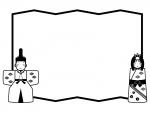 お雛さまとお内裏さまと屏風の白黒ひな祭りフレーム飾り枠イラスト