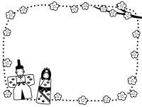 お雛さまとお内裏さまと桃花の白黒点線ひな祭りフレーム飾り枠イラスト
