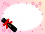 卒業証書筒と桜のグラデーションフレーム飾り枠イラスト