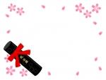 卒業証書筒と桜のフレーム飾り枠イラスト