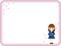 卒業証書を持つ子供と桜の二重線フレーム飾り枠イラスト