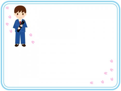 卒業証書を持つ子供と桜の水色二重線フレーム飾り枠イラスト