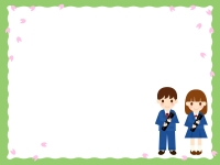 卒業証書を持つ子供達と桜の黄緑色のフレーム飾り枠イラスト