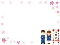 卒業式の看板と子供達の桜囲みフレーム飾り枠イラスト