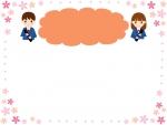 卒業生と桜のオレンジ色の見出し付きフレーム飾り枠イラスト