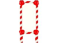 紅白の立て看板のフレーム飾り枠イラスト