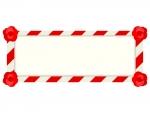 紅白の横長看板のフレーム飾り枠イラスト