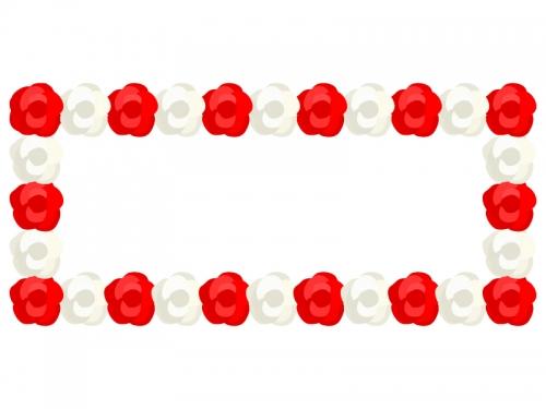 紅白の紙花で飾り付けた横長看板のフレーム飾り枠イラスト
