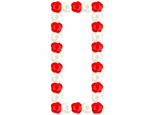 紅白の紙花で飾り付けた立て看板のフレーム飾り枠イラスト