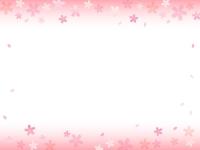 桜のふんわり上下グラデーションのフレーム飾り枠イラスト