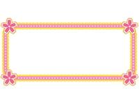四隅に桜モチーフの付いた横長フレーム飾り枠イラスト
