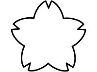 桜の輪郭の白黒フレーム飾り枠イラスト