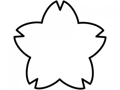 桜の輪郭の白黒フレーム飾り枠イラスト 無料イラスト かわいいフリー