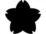 桜のシルエットの黒色フレーム飾り枠イラスト