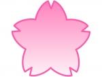 桜の輪郭のピンク色グラデーションフレーム飾り枠イラスト